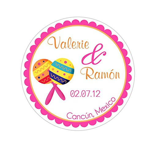 Personalized Customized Wedding Favor Stickers - Maracas Spanish Mexican Destination Wedding - Choose Your Size