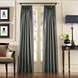 Curtainworks Marquee Faux Silk Pinch Pleat Curtain Panel, 30 by 108', Teal