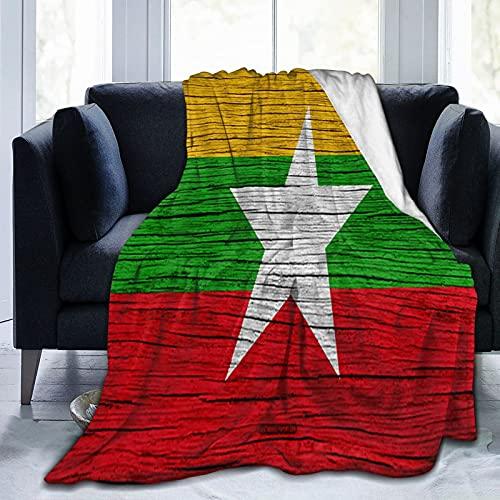 Flanelldecke mit Flagge von Myanmar, flauschig, bequem, warm, leicht, weich, Überwurf für Sofa, Couch, Schlafzimmer
