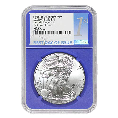 2021 (W) 1 oz American Silver Eagle Coin MS70 (Heraldic Eagle T-1 - First Day of Issue - Struck at West Point Mint - Blue Core Label) by CoinFolio $1 MS-70 NGC
