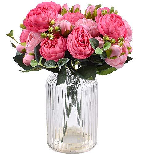 XONOR 4 mazzi di Fiori Artificiali di peonia di Seta Fiori Finti di Gloriosa per la Decorazione Domestica della Festa Nuziale, 5 forchette, 9 Testa (Rosa Rossa e Rosa)