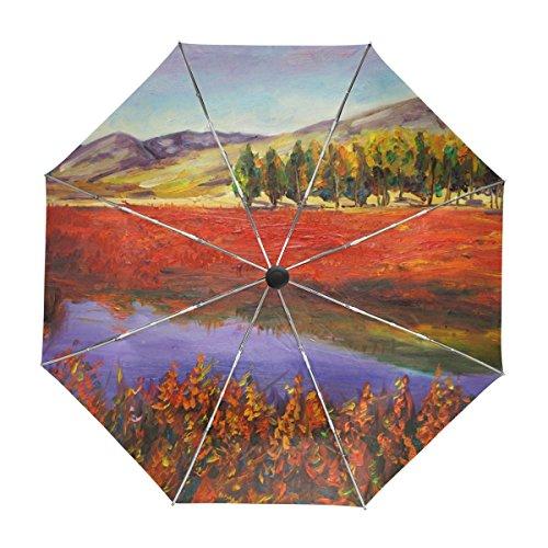 ALAZA Herbst-Feld und Berge Ölgemälde Regenschirm Reise Auto Öffnen Schließen UV-Schutz-windundurchlässiges Leichtes Regenschirm