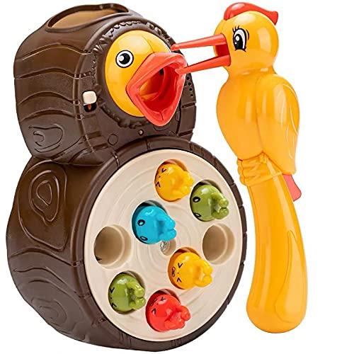 JIJK Hongerige specht speelgoed - elektrische muziek fijne motoriek speelgoed - Montessori peuters speelgoed magnetisch spel, zintuiglijk, voeding, kleuterschool leren speelgoed voor meisjes en jongens geschenken