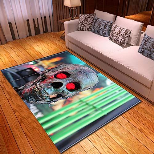 LGXINGLIyidian Casa Alfombra Serie Creativa del Cráneo del Demonio Oscuro Alfombra Suave Antideslizante De Decoración del Hogar De Impresión 3D T-2315K 80X150Cm