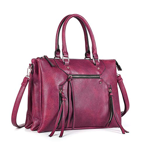 Women Crossbody Bags with Tassel Triple Zipper Pocket Satchel Purses and Handbags for Ladies (Wine Red)