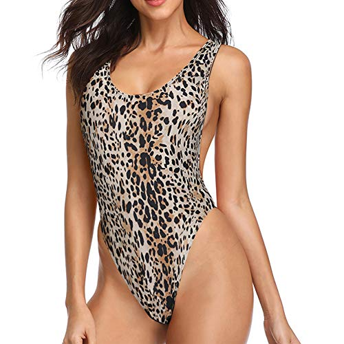 Dixperfect 90s Trend One Piece Swimsuit Low Cut Sides Wide Straps High Legs for Women
