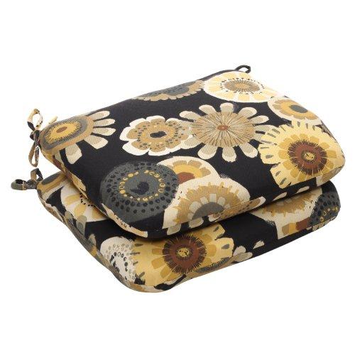 Pillow Perfect zitkussen, voor binnen en buiten, bloemenpatroon, rond, zwart/geel, 2 stuks