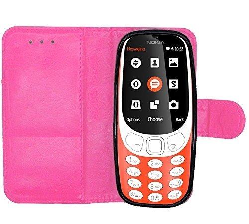 iPro Accessories Schutzhülle für Nokia 3310, Nokia 3310 2017, Premium-PU-Leder, Flip-Folie, magnetischer Schutz, Brieftaschenhülle [Kreditkartenfach] für Nokia 3310 (2017) (6,1 cm) (Rosa)