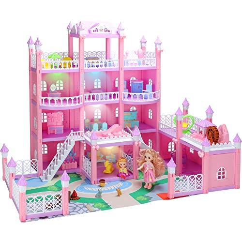 KAINSY Puppenhaus, 4 Tier Holiday House Möbeln und Zubehör Puppenhaus and Puppenhaus Zubehör and 3 Doll, 3D Großes Puppenhaus einschließen Wohnzimmer,Schlafzimmer,Küche,Bad