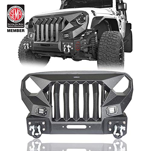 Hooke Road Wrangler JK Bumper Mad Max Front Bumper Grill with 2x 18W LED Lights Compatible with Jeep Wrangler JK & Unlimited 2007-2018