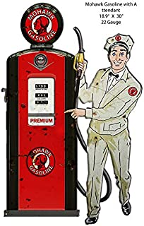 Mohawak Gas Pump Attendant Cut Out Reproduction Metal Sign 18.9x30
