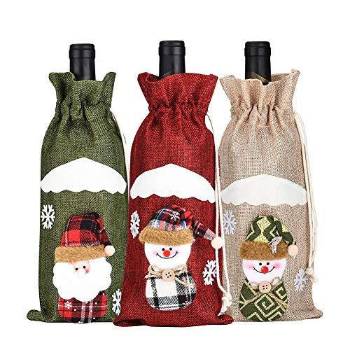 Weesey 3pcs Weihnachtswein-Flaschen-Abdeckung, Puder-Beutel-Weihnachtsmann-Schneemann-Geschirr für...