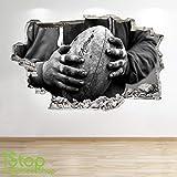 1Stop Graphics Shop Rugby Autocollant Mural 3D Look - garçons Chambre d'enfant Sport Autocollant Mural Z606 - Small: 50 cm x 79 cm