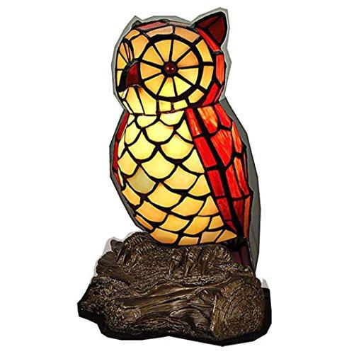 Tiffany Stil Schreibtischlampe, Glasmalerei Eule Design Tischlampe, Schlafzimmer Nacht Nacht Kleine Nachtlichter Dekoration Geschenk GAOLIQIN