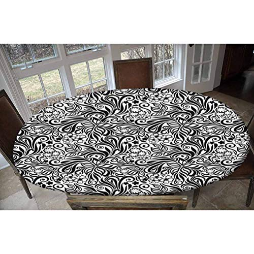 LCGGDB Black and White Elastic Edged Polyester Fitted Tablecolth -Western Floral- Oval/Olbong Fitted Table Cover - Fits Oval/Olbong Tables up to 48'x68',The Ultimate Protection for Your Table
