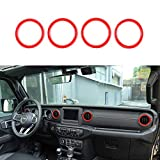 YiXunTen for 2018+ Jeep Wrangler JL Red ABS Car Interior Dashboard Air Conditioner Air Outlet Vent Ring Cover Frame Decor Sticker Decal Trim