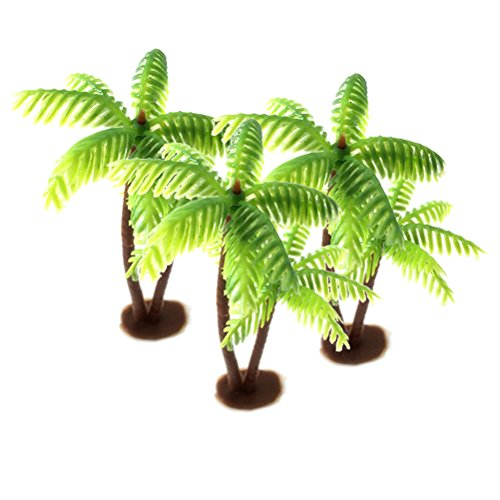 Amosfun 3Pcs Plastic Coconut Palm Tree Miniature Plant Pots Bonsai Craft Micro Landscape DIY Decor for Friends