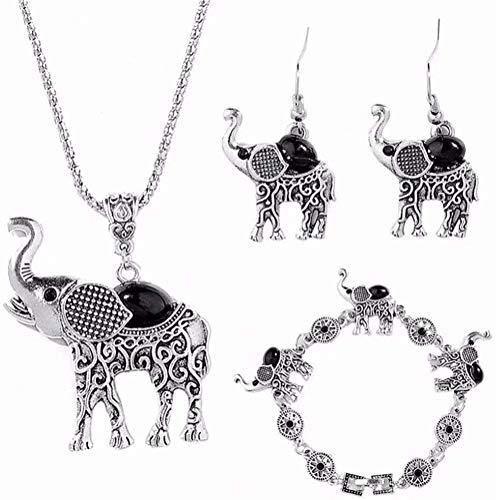 gujiu Charm Bracelets Juego de Joyas Elefante Tribal Étnico Boho Colgante Colgante Pendientes Pendientes Link Pulsera Joyas Conjuntos
