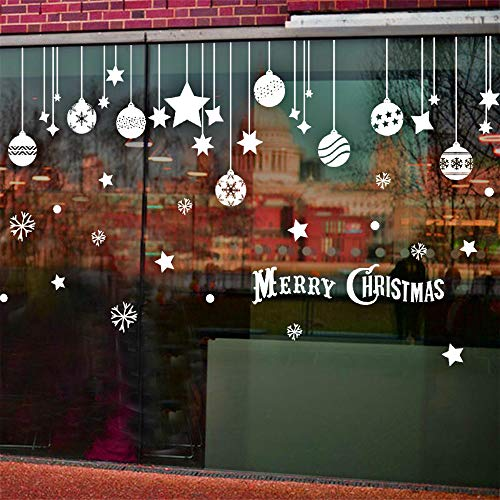 ELFPOEME Christmas Window Decals,Winter Window Clings,White Star Snowflakes Decorations,Xmas Holiday Merry Christmas Decal,Removable PVC Wall Sticker,Winter Wonderland Party Ideas,New Year Supplies