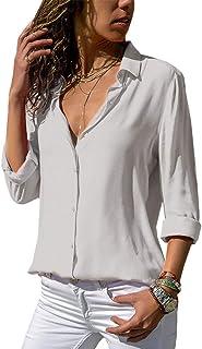 6ea39a7ca2 Minetom Blusa Donna con Collo V Maglietta Maniche Lunghe Casual Tinta Unita  Chiffon Sexy Ufficio Camicetta