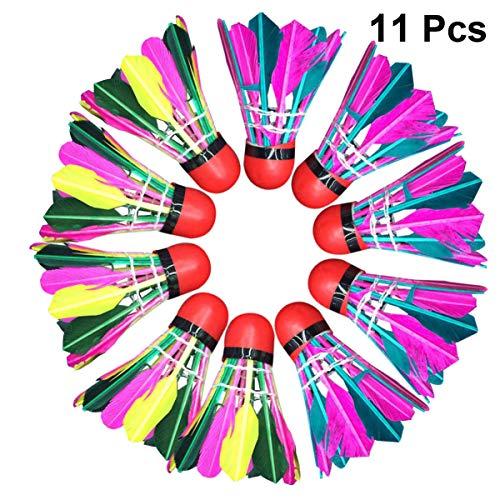 Garneck 11 Stück Badminton Shuttlecocks Bunter Entenfederschaum Hochgeschwindigkeits Birdies Ball mit Großer Stabilität Und Haltbarkeit für Indoor Outdoor (Gemischte Farbe)