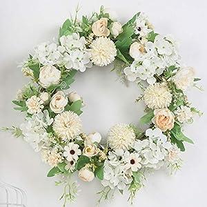 Artificial Flower Wreath, Spring Summer Wreath for Front Door,Silk Peony Hydrangea Daisy Wreath for Front Door Home Wedding Decor