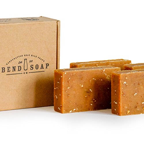 Bend Soap Company All Natural Handmade Goat Milk Soap for Dry Skin Relief, Oatmeal Honey, 4 Count