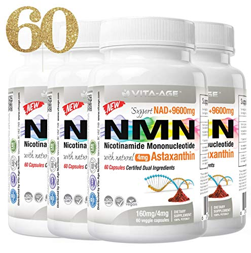 Vita-Age NMN Lab Tested 374 mg Serving with 8mg Astaxanthin (Highest Purity Nicotinamide Mononucleotide) Boost NAD+ Support Metabolism (160mg Per Cap, 4 x NMN 60 Capsules) Dual Ingredients
