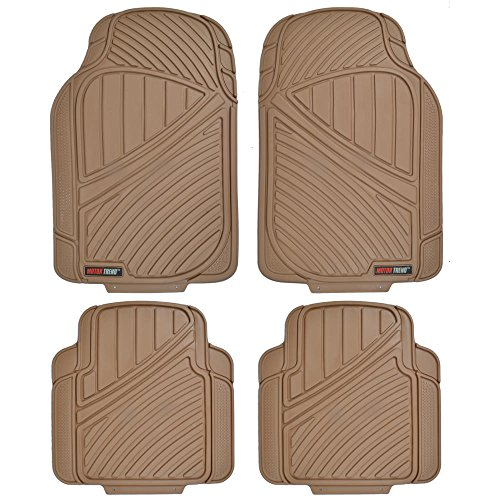 Motor Trend FlexTough Standard - 4pc Set Heavy Duty Rubber Floor Mats for Car SUV Van & Truck (Tan Beige) (MT-774-BG)