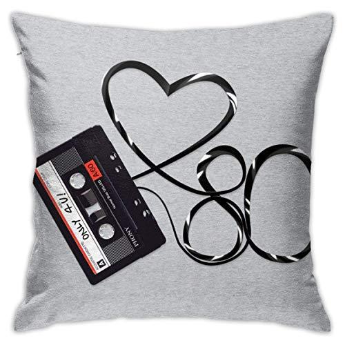 WH-CLA Cushion Cover Love 80S Cassette Tape Dormitorio De Anime Suave Y Acogedor Cremallera Decorativa Sofá para El Hogar Fiesta Cuartos De Estar Fundas De Almohada Duraderas Funda De Al