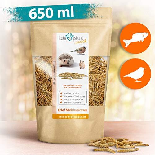 Ida Plus - Edel Mehlwürmer getrocknet - Insekten Snack für Igel, Hamster, Teichfische und Reptilien - Vogelfutter für Wildvögel - Naturprodukt ohne Zusatzstoffe - Wildvogelfutter 100 g