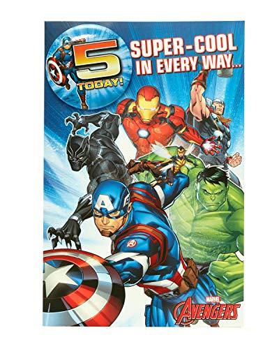 Marvel Avengers Geburtstagskarte zum 5. Geburtstag, Superhelden-Motiv, für Jungen, 5. Geburtstag