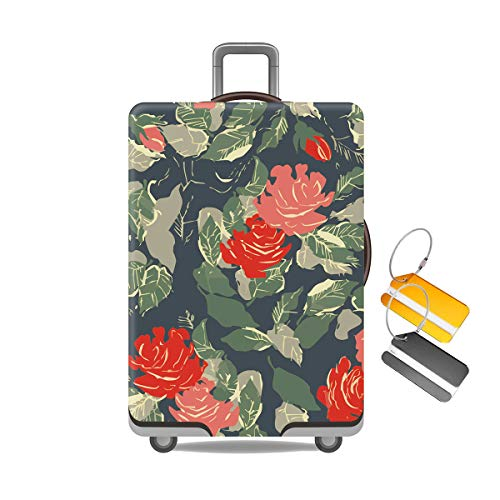JoyCube Travel Luggage Protector, Elastic Suitcase Cover with 2 Luggage tag | Travel Trolley Stretchy Protective Case | Suitcase Dust Cover Reusable Washable Anti-Scratch Waterproof—(26''-28'') Large