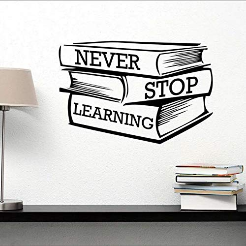Lettering Study Books Wall Sticker Never Stop Learning Motivational Quote Wall Decal Library Classroom Decor Vinyl Mural m2 57x38cm
