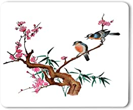 Moslion Birds Mouse Pad Watercolor Traditional Chinese Painting Flowers Cherry Blossom Tree Gaming Mouse Mat Non-Slip Rubber Base Thick Mousepad for Laptop Computer PC 9.5x7.9 Inch