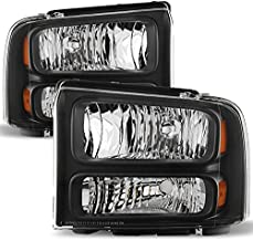 For Black Bezel 99-04 F-Series Superduty 00-04 Excursion Headlights Front Lamps Replacement Pair
