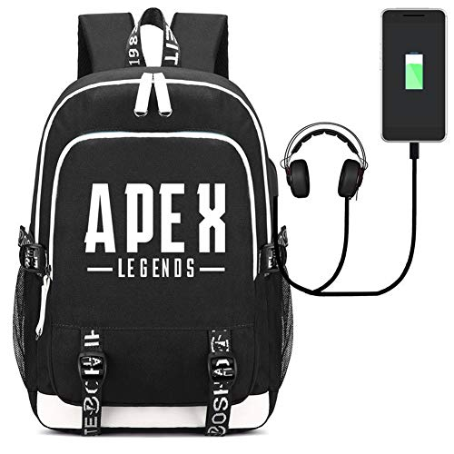 Apex Legends Backpack Bag Laptop Backpack with USB Charging Port Printed