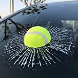 ZLTFashion 3D Prank Tricky Creative Glass Window Stickers Funny Auto Car Styling Ball Hits Car Body Window Sticker Self Adhesive Decal Accessories (Green Tennis)