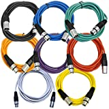 Seismic Audio - SAXLX-10-Multi - 8 Pack of Colored 10 Foot XLR Patch Cables - 10' Mic Cable Cords