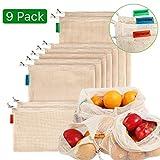 Meiruier 9pcs Bolsa Reutilizable Algodon de Vegetales,Bolsa de malla lavable,Bolsas Reutilizables Compra, Bolsas de Malla Transpirables Adecuado para Frutas y Verduras Productos Frescos(2S*5M*2L)