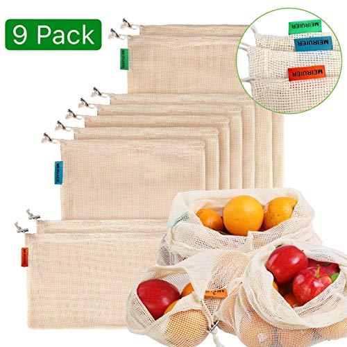 2*S, 2*M, 2*L Yosemy Bolsas Fruta Reutilizables,Ecol/ógicas Bolsa de Malla para Almacenamiento Fruta Verduras Juguetes Lavable y Transpirable,Bolsa de Producci/ón Reutilizabl3 Tama/ños