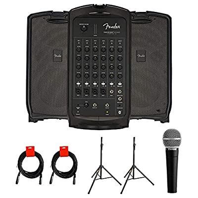 Fender Passport Event Series 2 Portable 375W Powered PA System with Vocal Microphone, 2x Speaker Stand & 2x XLR Cable Bundle from Fender
