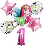 Jjwlkeji Esmalte de uñas en Gel Nuevo 6pcs / Set Pequeña Hada de Chicas Globos de 32 Pulgadas Número de Rosa Ballon Girl 1 2 3 4 5st Partido Feliz Cumpleaños Conjunto decortion (Color : One Year Old)