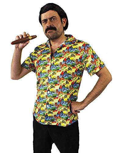 I LOVE FANCY DRESS LTD Pablo Escobar KOSTÜM - GELBES Hawaiianer Hemd + PERÜCKE + Schnurrbart + ZIGARRE - PERFEKT FÜR Fernseher Filme Droge Lord KOSTÜME - GRÖẞE: MITTEL