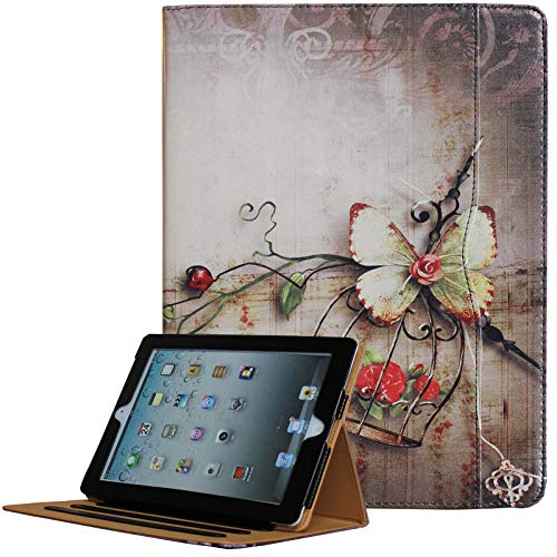 for iPad 9.7 6th/5th Generation 2018/2017, iPad Air/Air 2 Case, JYtrend Multi-Angle Viewing Stand Folio Smart Cover with Pocket for A1893 A1954 A1822 A1823 A1474 A1475 A1476 A1566 A1567 (Butterfly)
