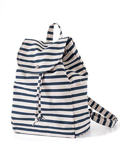 BAGGU Canvas Rucksack, langlebige und stylische einfache Canvas Tasche für das Alltagsleben., (Sailor Stripe (2017)), Einheitsgröße