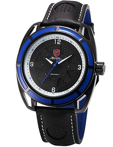 Shark Herren Armbanduhr Quarzuhr Hollow Design Leder Band Blau Schwarz Sport Uhr SH474