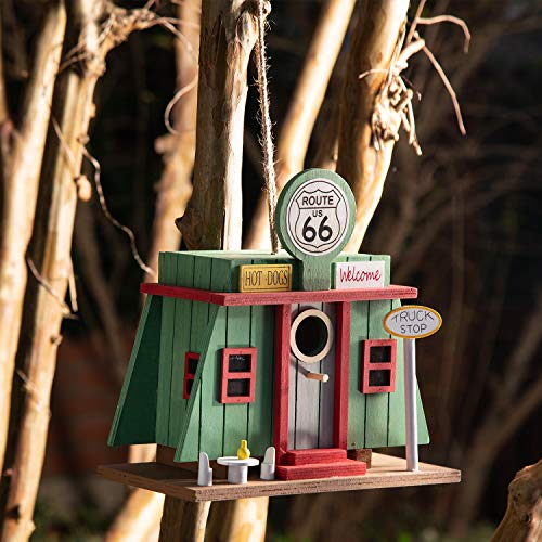 Glitzhome 9.45' L Wooden Truck-Shop Bird House Outdoors/Indoors Garden Rustic Hanging Painted Decorative Birdhouse for Kids Adult