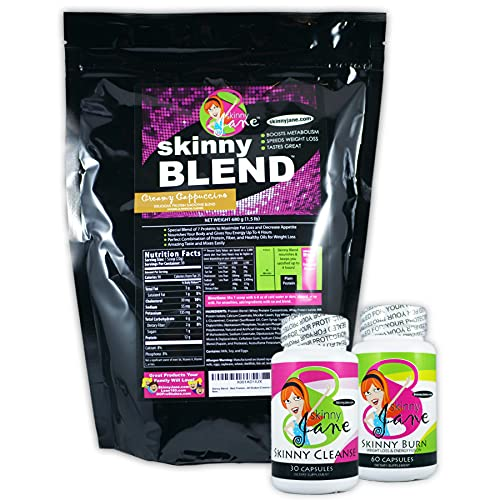 Best Weight Loss Kit, Quick Slim Kit, Diet Kit, Best Tasting Protein Shakes for Women, Appetite Suppressant Fat Burner Diet Pills, Cleanse and Detox, Fast Weight Loss, Skinny Jane - Creamy Cappuccino