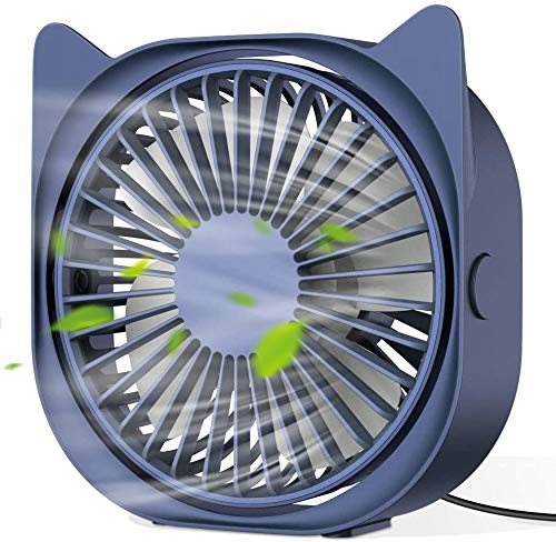 Bestrans USB Ventilator, Ventilator Klein PC Ventilator USB Mini Ventilator 3 Geschwindigkeiten, Niedliche Katzenohren Aussehen, Geräuscharm, USB Fan Einfach zu Tragen, für Büro, Zuhause und im Freien
